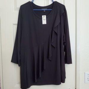 Ruffle front 3/4 sleeve shirt